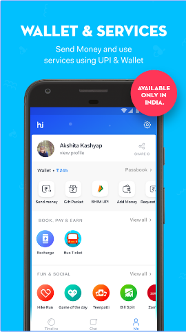 hike Payments, Hide Chat, Stickers, Calling