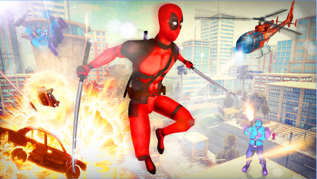Dead Superhero comics action game in Crime City android appl
