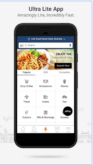Justdial Lite android app