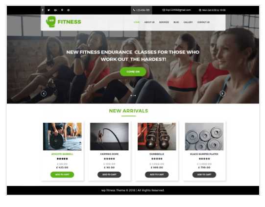 Core Fitness WordPress Theme
