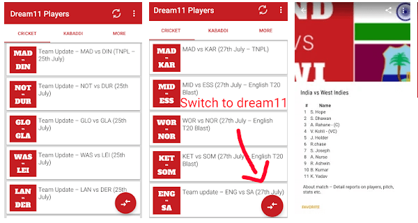 Dream 11 Players android app
