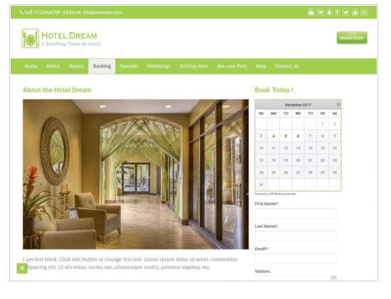 Hotel Dream WordPress Theme