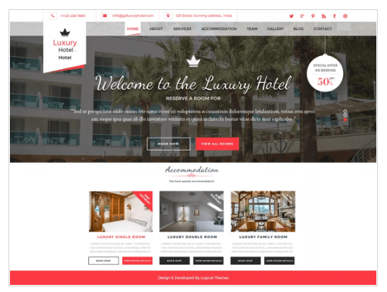 Hotel Resort WordPress Theme
