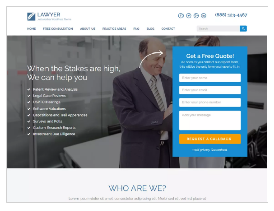 Lawyer Landing Page WordPress Theme