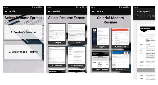 New Android App Free Resume Builder Cv Maker Templates Pdf Formats