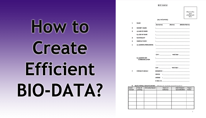 how to write efficient bio-data for applying a job